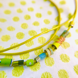 Lime Yellows Beaded Leather Cord Necklace or Bracelet