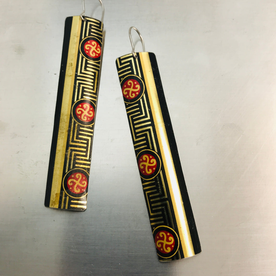 Black, Gold & Red Maze Pattern Long Rectangle Tin Earrings