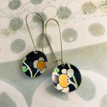 Load image into Gallery viewer, White Cherry Blossoms on Midnight Medium Basin Upcycled Tin Earrings