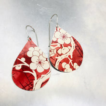 Load image into Gallery viewer, Cherry Blossoms on Carmine Upcycled Teardrop Tin Earrings