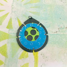 Load image into Gallery viewer, RESERVED Encircled Chartreuse in Bright Blue Upcycled Tin Earrings
