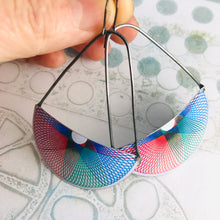 Load image into Gallery viewer, Spirograph Two Semicircle Large Fan Dangle Earrings