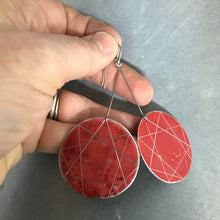 Load image into Gallery viewer, Red Enneagram Circles Upcycled Tin Earrings