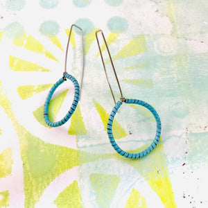 Aqua Spiraled Circle Upcycled Earrings