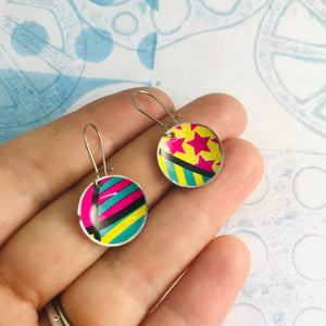 Bright Patterns Hot Pink, Yellow, Teal Upcycled Tiny Dot Earrings