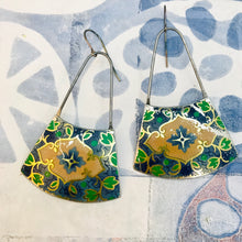 Load image into Gallery viewer, Vintage Blue & Green Small Fans Zero Waste Tin Earrings