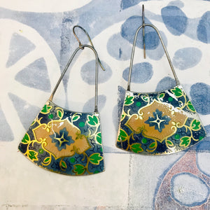 Vintage Blue & Green Small Fans Zero Waste Tin Earrings