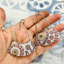 Load image into Gallery viewer, Stylized Leaves & Flowers on Palest Lavender Wide Arc Zero Waste Earrings