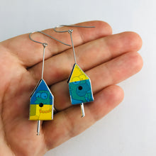 Load image into Gallery viewer, Marge & Homer Simpson's Colorblock Tiny Tin Birdhouse Earrings