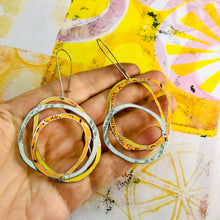 Load image into Gallery viewer, Dreamsicle Scribbles Upcycled Tin Earrings