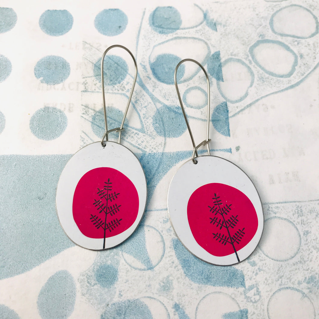 Mod Pink Trees Oval Zero Waste Tin Earrings