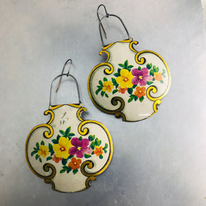 Vintage Flowers on White Lantern Shape Recycled Tin Earrings