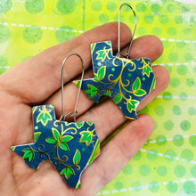 Load image into Gallery viewer, Vintage Blue & Green Leaves Upcycled Tin Earrings