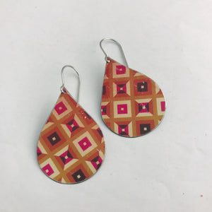 Shades of Red Geometric Pattern Upcycled Teardrop Tin Earrings by adaptive reuse jewelry