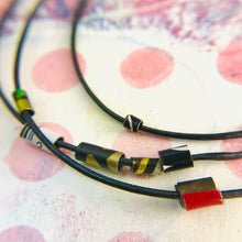 Load image into Gallery viewer, Graphite Tiny Tin Beaded Leather Cord Necklace or Bracelet