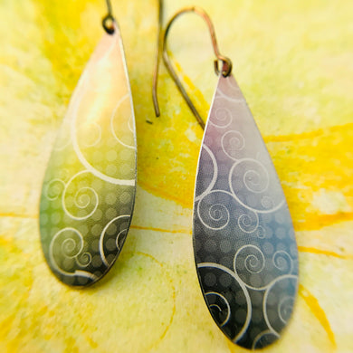 White Swirls on Charcoal & Sunshine Upcycled Teardrop Tin Earrings