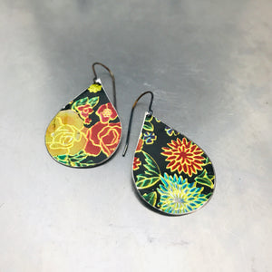 Bright Flowers on Black Upcycled Tin Teardrop Earrings
