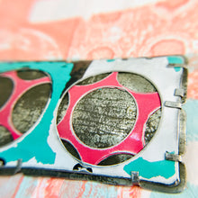 Load image into Gallery viewer, Encircled Weathered White Over Pink Upcycled Tin Brooch
