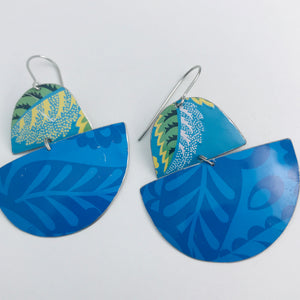 Mixed Blues Boats Upcycled Tin Earrings