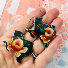 Load image into Gallery viewer, Pink Roses on Black Texas Upcycled Tin Earrings