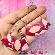 Load image into Gallery viewer, Mod Pink Leaves Wide Arc Zero Waste Earrings