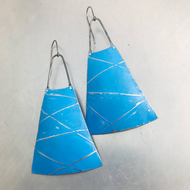 Bright Blue Distressed Lines Upcycled Long Fan Tin Earrings