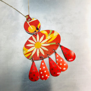 Daisy and Dots on Orange Zero Waste Tin Chandelier Necklace
