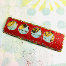 Load image into Gallery viewer, Encircled Weathered Red Over Pale Aqua Upcycled Tin Brooch