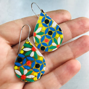 Vintage Mosaic Upcycled Teardrop Tin Earrings