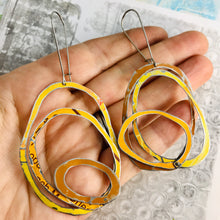 Load image into Gallery viewer, Mixed Oranges Scribbles Upcycled Tin Earrings