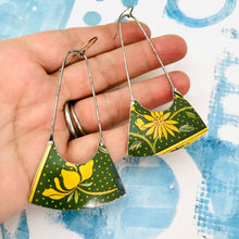 Load image into Gallery viewer, Yellow Blossoms on Polka Dots Recycled Tin Earrings