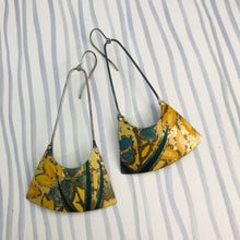 Load image into Gallery viewer, Vintage Yellow Flowers Recycled Tin Earrings