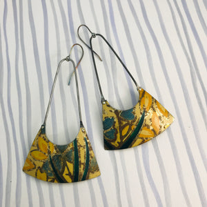 Vintage Yellow Flowers Recycled Tin Earrings