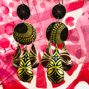 Golden Sunflower Tin Chandelier Earrings