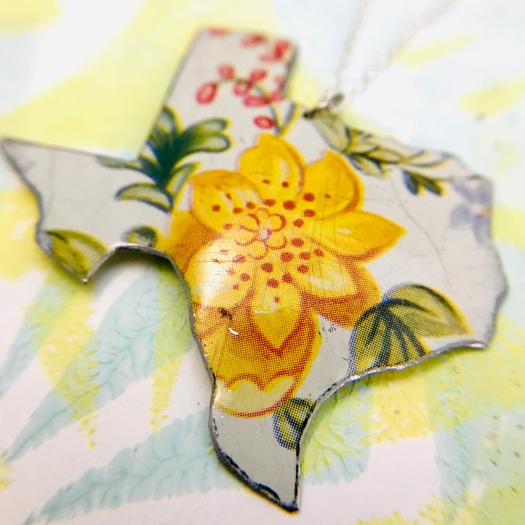 Vintage Yellow Wildflower Texas Recycled Tin Necklace