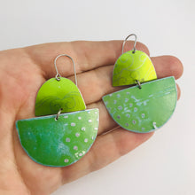 Load image into Gallery viewer, Shimmery Green Boats Upcycled Tin Earrings