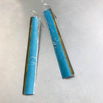 Vintage True Blue Long Narrow Tin Earrings