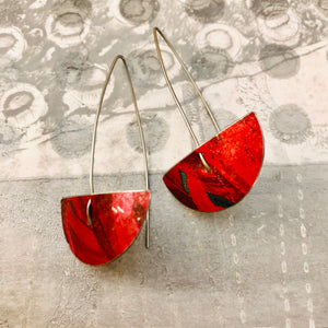 Red Semi-circle Upcycled Tin Earrings