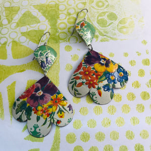 Pansies on Green Trefoil Upcyled Tin Earrings