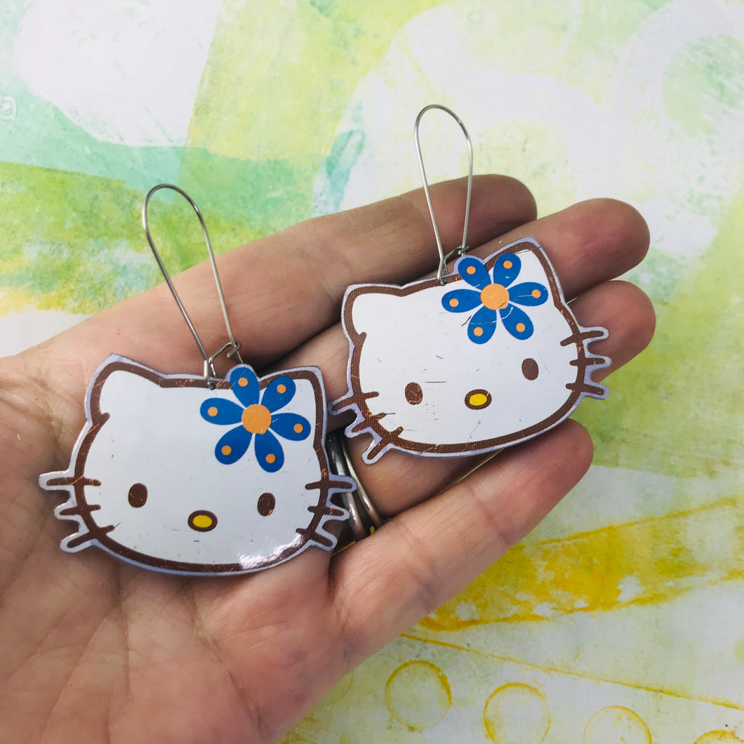 Hello Kitty Upcycled Tin Earrings