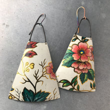 Load image into Gallery viewer, Big Pink Flowers Upcycled Vintage Tin Earrings
