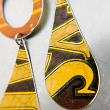 Load image into Gallery viewer, Bailey's Orange Ring & Long Teardrops Upcycled Tin Earrings