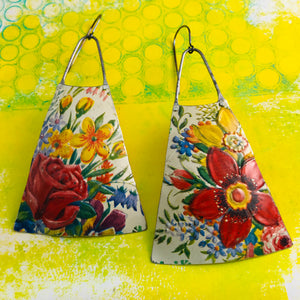 Vintage Bouquet Zero Waste Tin Long Fans Earrings