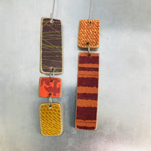 Load image into Gallery viewer, Mixed Pattern Rectangles Recycled Book Cover Earrings