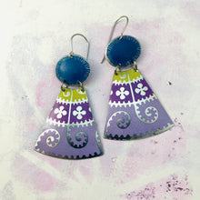 Load image into Gallery viewer, Purple Mandala Sapphire Ovals Small Fans Zero Waste Tin Earrings