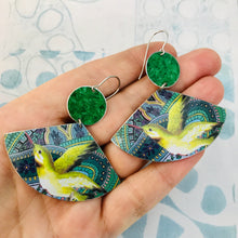 Load image into Gallery viewer, Green Hummingbirds Upcycled Tin Earrings