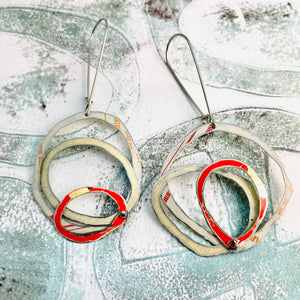 Creamy Whites & Pop of Red Smaller Scribbles Upcycled Tin Earrings