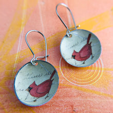 Load image into Gallery viewer, Tiny Cardinals Upcycled Tin Dot Earrings