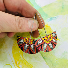Load image into Gallery viewer, Crewelwork Semi-circle Upcycled Tin Earrings