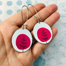Load image into Gallery viewer, Mod Pink Trees Oval Zero Waste Tin Earrings